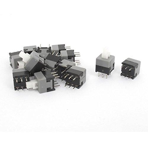 Aexit Interruptor táctil de botón automático DIP de 6 pines con bloqueo, (model: W2347IIIVII-6186XB) 8.5x8.5x14mm, 15 pcs