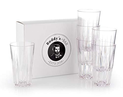 Buddy's Bar - 6er Set, Hochwertige 0,5 Liter Tritan Kunststoff Trinkgläser, BPA frei, Kristallglas-Optik, bruchfeste Mehrweg-Gläser, wiederverwendbar und spülmaschinenfest, 500 ml