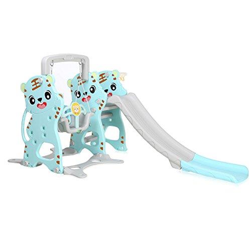 Baby Vivo Toboggan Aire de jeux Balançoire pour Enfants Échelle Extérieur et à l'Intérieur Jardin en Turquoise / Gris