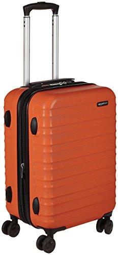 Amazon Basics - Maleta de viaje rígida giratori- 55 cm, Tamaño de cabina, Naranja fuerte