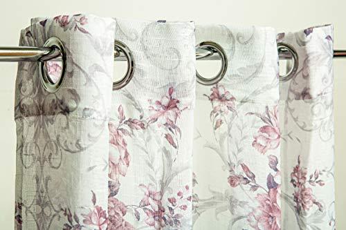 HTE Cortina con Estampada de Flores, Cortina Visillo Translucido Decorativo para Salón y Habitación, 1 Panel, 140x260cm (Rosa)
