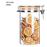YYW Boîtes à thé en verre avec couvercle hermétique en bambou, récipient hermétique idéal pour le thé, le sucre, le café, les noix et plus encore, verre, 1200ML