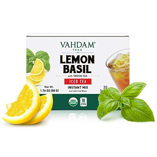 VAHDAM, Thé Glacé Citron Basilic - 20 Portions Uniques   Thé Vert 100% BIO de l'Himalaya   Aucun Ingrédient Artificiel   Rafraîchissement de Pré-Entraînement Sportif