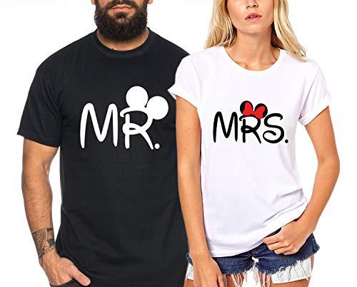 Mr Mrs Mouse - Partner-T-Shirt Damen und Herren - 2 Stück - Couple-Shirt Geschenk Set für Verliebte - Partner-Geschenke - Bestes Geburtstagsgeschenk - Partnerlook