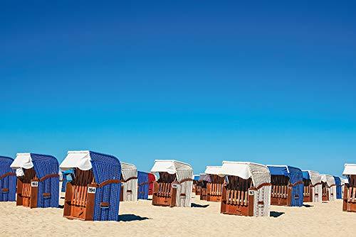 Artland Qualitätsbilder I Wandtattoo Wandsticker Wandaufkleber 30x20 cm Strandkörbe am Strand von Warnemünde E6LR Blau