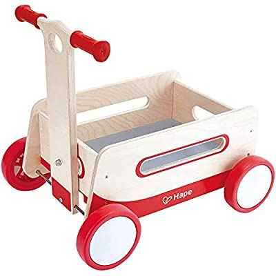 Hape Red Wonder Wagon Wooden Push and Pull Toddler Ride On Balance 4 Wheels Walker from Hape
