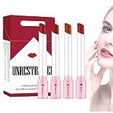 Odoukey 1 Conjunto de Cigarrillos Barra de Labios Mate Set 4 Colores componen Terciopelo cosmética hidratante Smooth lápiz Labial de Larga duración Fácil de Maquillaje del Color del lápiz Labial