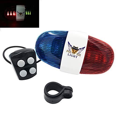 Estiq New Police 4-Melody Bicycle Power Horn Siren, 6-LED Strobe Blue and Red Bicycle Safety Light