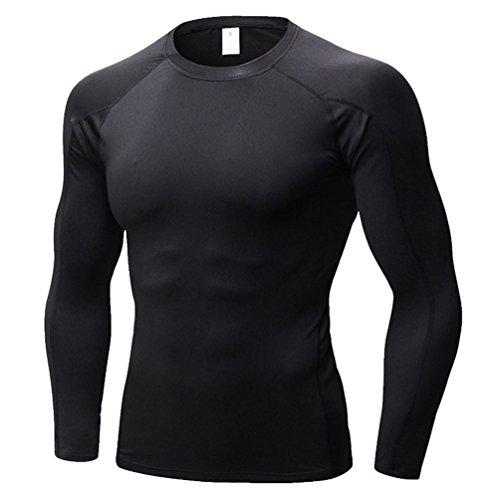 YiiJee Herren Base Layer Tops Compression T-Shirts Schnelltrocknend Fitness Sport T-Shirt Als Bild4 L