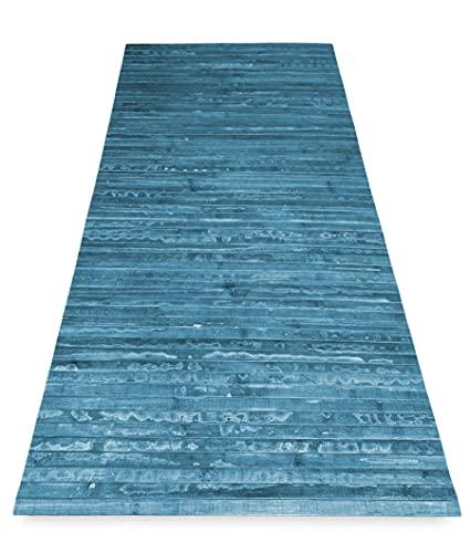 Tex family Alfombra de cocina de madera de bambú Woody Story UK azul – 50 x 75 cm