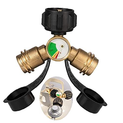 Propano Splitter QCC1 Tarjeta de llenado de gas PROPANE Y medidor de presión para la campista RV BBQ BBQ Grill Manual Instrumento industrial