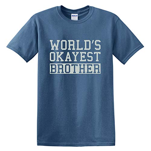 World 's Okayest Brother T-Shirt für Erwachsene, Baumwolle/Polyester - Blau - X-Groß