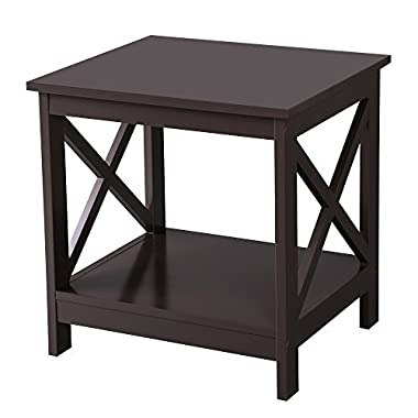 SONGMICS X-Design Sofa End Table, Wooden Side Table, Nightstand with 2 Display Shelves, Espresso, ULET01BR