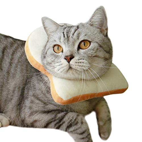 MOCOHANA Creative Toast Pet Costume Soft Bread Slice Collar for Dogs and Cats Pet Photo Props Headgear XS