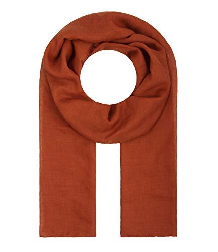 Majea Tuch Lima schmal geschnittenes Damen-Halstuch leicht uni einfarbig dünn unifarben Schal weich Sommerschal Übergangsschal (rost-braun)