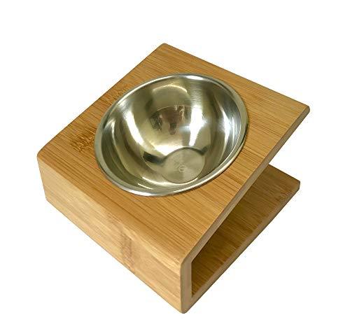 Cleo Heimtierbedarf Bambus Futternapf für Katzen mit Edelstahleinsatz (170ml)