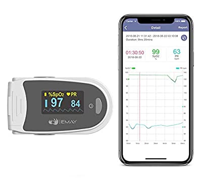 EMAY Sleep Oxygen Monitor with App for iPhone & Android   Track Overnight & Continuous Blood Oxygen Saturation Level & Heart Rate with Professional Report   Memory Stores Data Up to 40 Hours