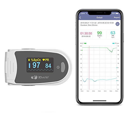 EMAY Sleep Oxygen Monitor with App for iPhone & Android | Track Overnight & Continuous Blood Oxygen Saturation Level & Heart Rate with Professional Report | Memory Stores Data Up to 40 Hours