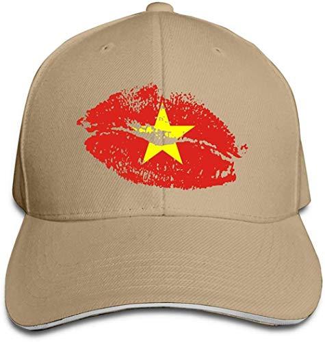 ZYZYY Berretto da baseball unisex con bandiera del Vietnam labbra Snapback cappello regolabile con visiera