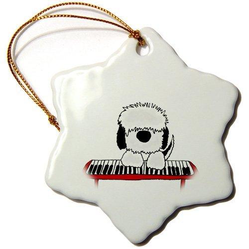Weihnachts-Ornament All Smiles Art Dogs Lustige Old English Sheepdog Spielende Tastatur Cartoon Schneeflocke Deko Hängeornament Porzellan Ornament