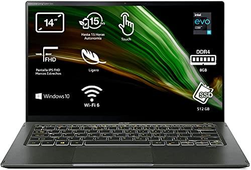 "Acer Swift 5 - Portátil 14"" FullHD (Intel Core i5-1135G7, 8GB RAM, 512GB SSD, Intel Iris Xe Graphics, Windows 10 Home), Color Negro - Teclado Qwerty Español"