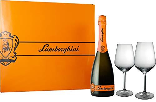 Lamborghini Demi Sec Gift Box ランボルギーニギフトボックス シャンパングラス2脚付 (Demi sec オレンジ色)
