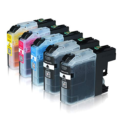 Logic-Seek 5 Tintenpatronen kompatibel für Brother LC-123 LC123 LC-121 LC-127 LC-125 XL für Brother MFC-J470DW MFC-J870DW DCP-J552DW - Schwarz je 20ml, Color je 14ml mit Chip