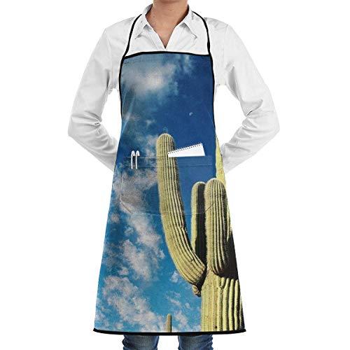 Delantal De Chef Delantales De Cocina De Restaurante De Cielo Azul Y Cactus Delantal De Cocina De Jardineriacute;a Regalo Impermeable Delantal con Babero De Bolsillo para El Hogar Cafe H