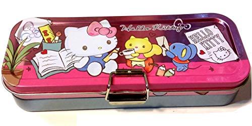 Hello Kitty Triple Deck Pencil Pen Case Metal Box