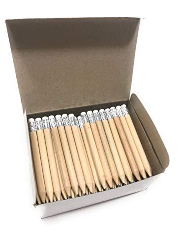 100 Stück Mini Bleistift kurz mit Radiergummi halber Bleistift Golf Bleistift