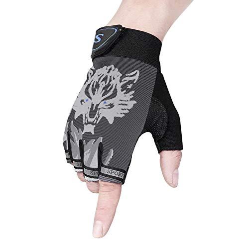YSXY Kinder Fingerlose Handschuhe Sport Halbfinger Handschuhe Fäustlinge Fahrradhandschuhe,ultradünn,atmungsaktiv,rutschfeste für Angeln, Radfahren, Jagd und Reiten Motorrad Fitness (Grau)