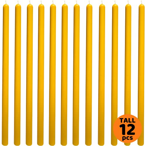 12 pcs 10,6' Yellow Taper Candles 100% Pure Beeswax Handmade - Natural Scent with Cotton Wick, Dripless, Smokeless, Non Toxic - for Dinner, Birthday Cake, Church, Hanukkah, Christmas