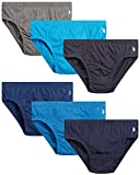 U.S. Polo Assn. Men's Underwear – Low Rise Briefs with Contour Pouch (6 Pack) (Heather Blues/Grey Heather/Solid Blues, Small)'