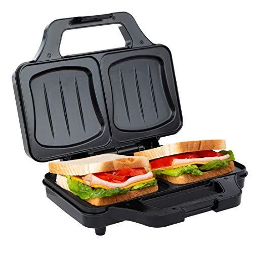 Ultratec Sandwichtoaster (900 Watt, elektrischer Muschelform, Sandwich Maker für XXL Toast, antihaftbeschichtete Platten, Mini-Toaster mit Temperaturkontrollleuchte) schwarz-Silber