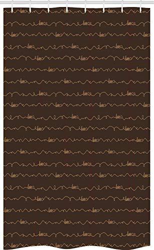 ABAKUHAUS Braun Schmaler Duschvorhang, Hoffnungs-Liebes-Spaß glückliches Zitat, Badezimmer Deko Set aus Stoff mit Haken, 120 x 180 cm, Dunkelbraun & Creme