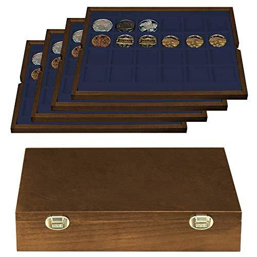 LINDNER Das Original Echtholz Münzkassette mit 4 blauen Tableaus für 96 Münzen/Münzkapseln bis Ø 42 mm