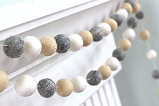 "Almond, Gray, White Felt Ball Garland- 1"" (2.5 cm) Wool Felt Balls"