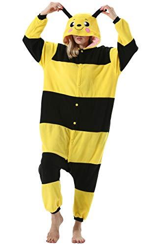 Mujer Hombre Pijama Animal Entero Unisex para Adultos con Capucha Cosplay Pyjamas Ropa de Dormir Traje de Disfraz para Festival de Carnaval Halloween Navidad Amarillo Abeja para Altura 148-187cm