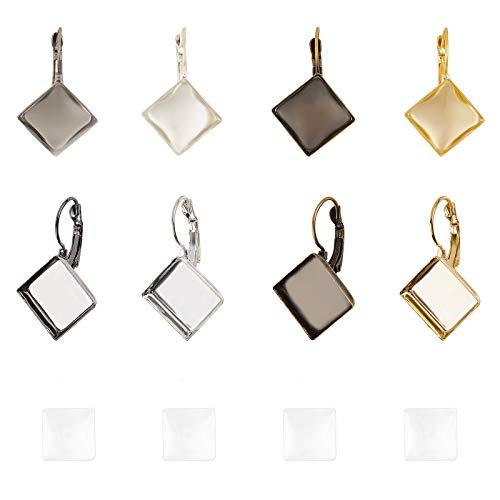 PandaHall - Juego de 40 kits de fabricación de pendientes cuadrados, 4 colores cuadrados para pendientes con bisel de cristal transparente de 15 x 15 mm para hacer pendientes