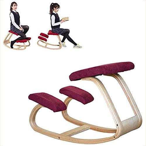 Sedia Ergonomica Inginocchiato, Sedia ergonomica in ginocchio, sedia a dondolo bilanciata in legno con inginocchiatoio, sedile correttivo per la postura per la casa e l'ufficio, alleviare il dolore