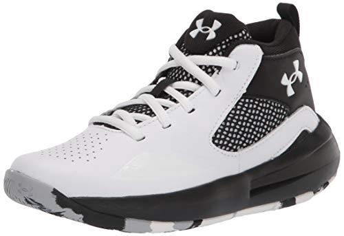 Under Armour Pre School Lockdown 5 Basketball Shoe, White (100)/Black, 2 US Unisex Little Kid