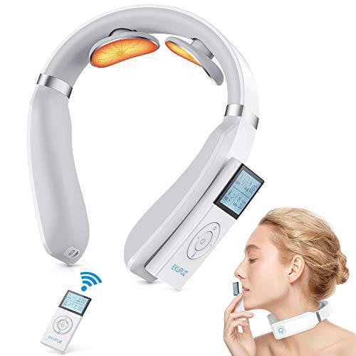 Masajeador de cuello, masajeador de cuello inteligente EKUPUZ.FAMILY, función de calentamiento de masaje de cuello portátil, 3 modos combinados y 15 niveles de potencia para viajes, oficina, h