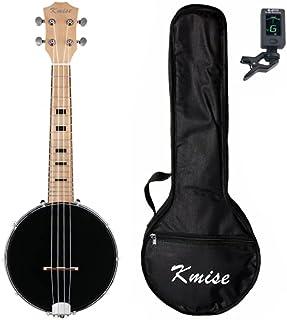 Kmise Banjo Ukulele 4 String Ukelele Uke Concert 23 Inch Size Maple with Bag Tuner (Black Maple)