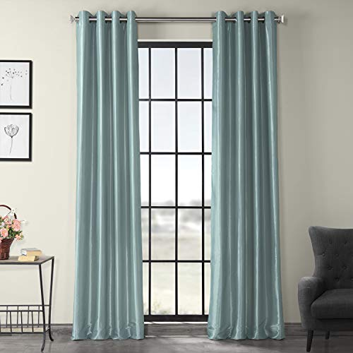 HPD Half Price Drapes PTCH-BO5-84-GR Grommet Blackout Faux Silk Taffeta Curtain (1 Panel), 50 X 84, Robin's Egg