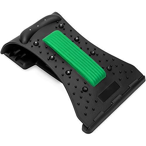 qipuneky Estiramiento de espalda, Dispositivo de Estiramiento de Cintura, Masajeador de Espalda con Cuentas Magnéticas, Ayuda a Aliviar el Dolor de Espalda (Verde + negro)