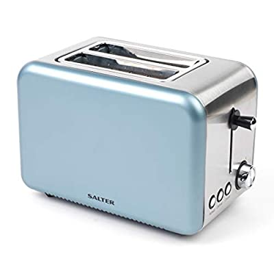Salter EK2652BLUE Metallics Polaris 2-Slice Toaster, 850 W, Pearl Blue Edition | Variable Browning, Wider Slots, Defrost/Reheat Functions