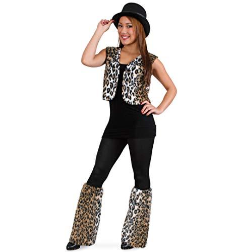 KarnevalsTeufel Damenkostüm Leopard Weste und Stulpen (X-Large)