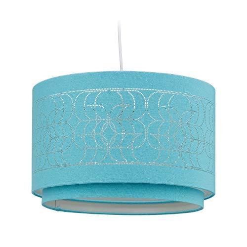 Relaxdays Stofflampe, mit Lochmuster, Textilschirm, Rund, Schlafzimmer, Wohnzimmer, Hängelampe, HxD: 127 x 36 cm, Petrol