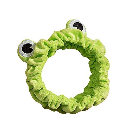 OZhenXiangZh Frosch Lustige Tierohren Cartoon Stirnband,Make-up Kopfband Lustige süße Frosch Augen Make-up Stirnband Breitkrempigeelastische Haarbänder Süße Mädchen Haarbänder