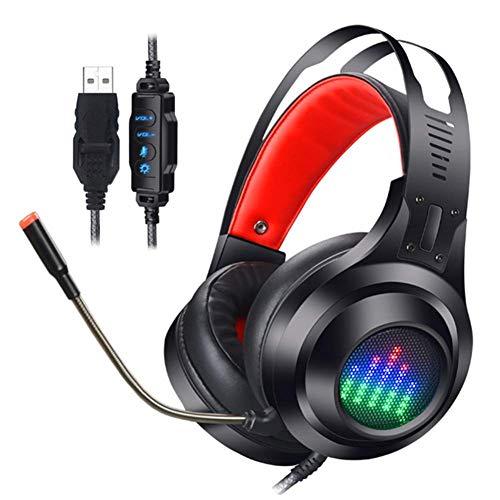 Preisvergleich Produktbild kaige PC Gaming Headset,  7.1 Kanal PS4 Headset Noise-Cancelling Mikrofon-Lautstärkeregler-Kopfhörer mit Hinweis Beating LED-Licht for Laptop Nintendo-Switch WKY